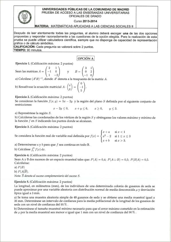 examenes de selectividad madrid matematicas ejercicios matematicas selectividad madrid por temas