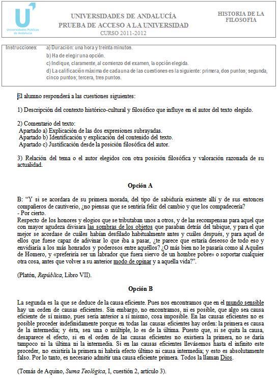 apuntes filosofia selectividad andalucia examenes de selectividad andalucia filosofia EBAU